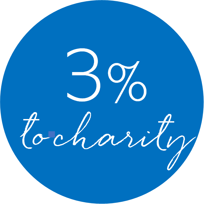 3% to charity